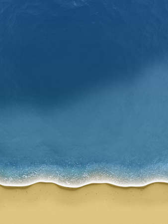 Illustration of birds-view of waves rolling over the beach
