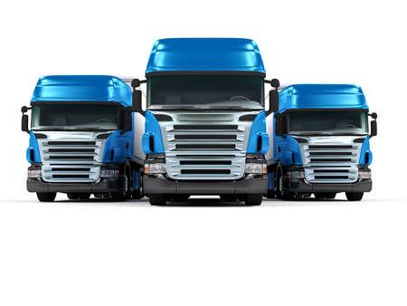 Some blue trucks isolated on white background