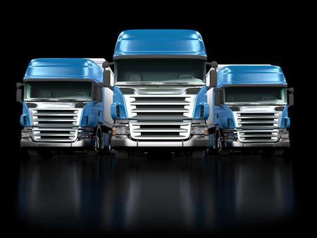 Some blue trucks isolated on black background