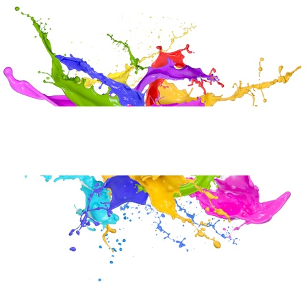 Photo for Colored splashes in abstract shape, isolated on white background  - Royalty Free Image