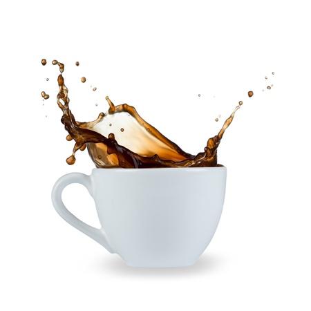 Photo for coffee splash isolated on white background - Royalty Free Image