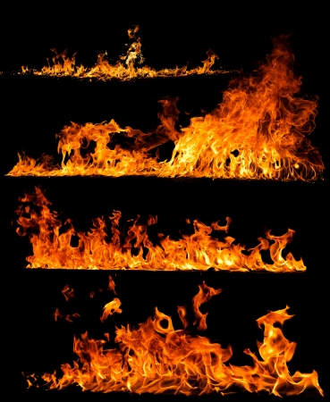 Foto de High resolution fire collection isolated on black background - Imagen libre de derechos