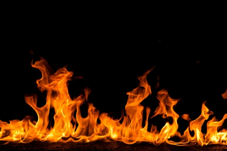 Foto de Fire flames on black background - Imagen libre de derechos