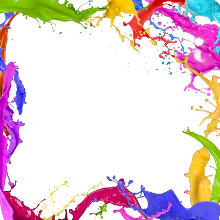 Foto de Colorful paint splashing on white background - Imagen libre de derechos