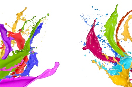Photo for Colorful paint splashing on white background - Royalty Free Image