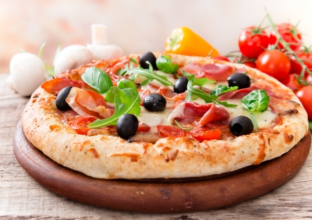 Photo for Delicious italian pizza served on wooden table - Royalty Free Image