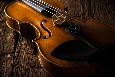 Photo for violin in vintage style on wood background - Royalty Free Image