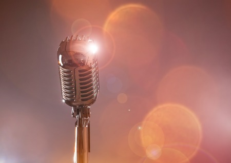 Photo for Retro microphone against colourful background - Royalty Free Image