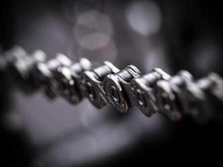Foto de Macro shot of mountain bike chain, studio shot. - Imagen libre de derechos