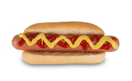 Photo for Hot dog with mustard and ketchup. Isolated on white background - Royalty Free Image