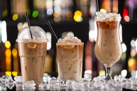 Photo for Ice coffee on bar desk, close-up. - Royalty Free Image