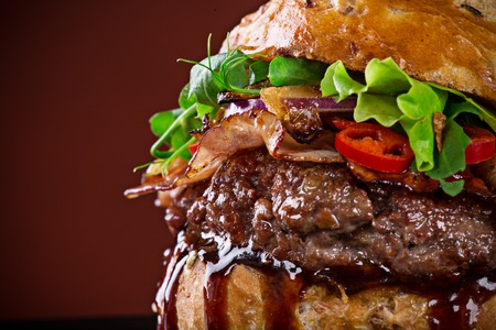 Photo pour Delicious burger, close-up. - image libre de droit