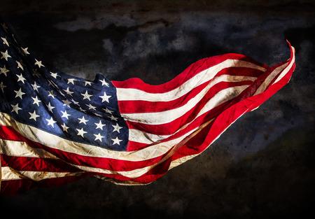 Foto de Grunge American flag, close-up. - Imagen libre de derechos