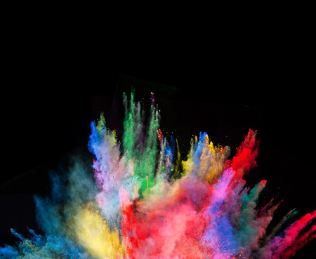 Photo pour Launched colorful powder, isolated on black background - image libre de droit