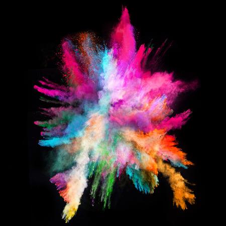 Foto de Launched colorful powder, isolated on black background - Imagen libre de derechos