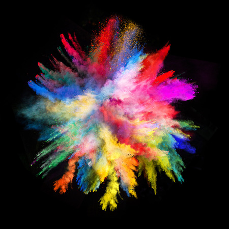 Foto de Launched colorful powder, isolated on black background - Imagen libre de derechos