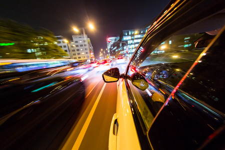 Photo for Night city from the car back view, motion blur effect. - Royalty Free Image