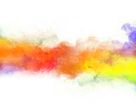 Foto de Launched colorful powder, isolated on white background - Imagen libre de derechos
