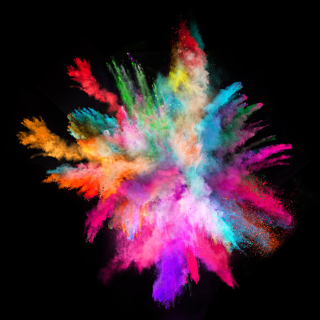 Foto de Explosion of colorful powder, isolated on black background - Imagen libre de derechos