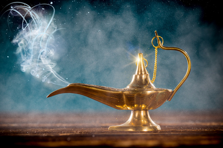 Photo for Aladdin magic lamp with smoke. - Royalty Free Image