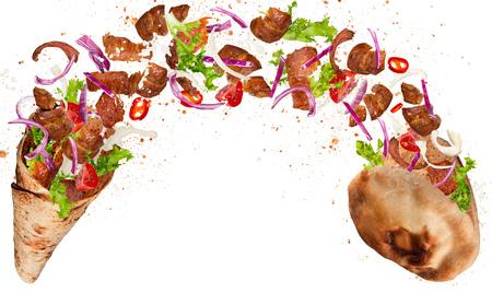Foto de Kebab sandwich with flying ingredients. - Imagen libre de derechos