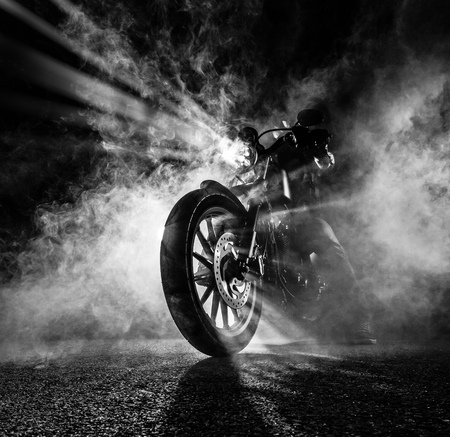 Foto de High power motorcycle chopper at night. - Imagen libre de derechos