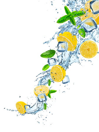 Photo for Fresh lemons with water splash on white. - Royalty Free Image