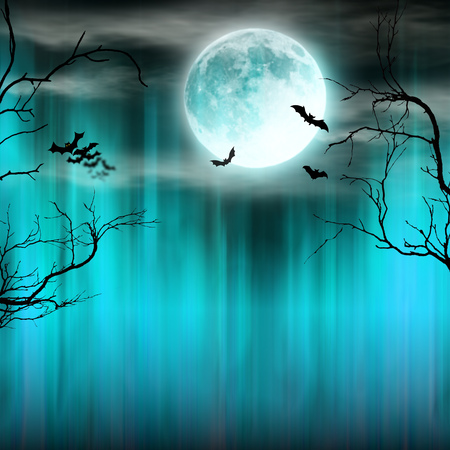 Photo pour Spooky Halloween background with old trees silhouettes. - image libre de droit