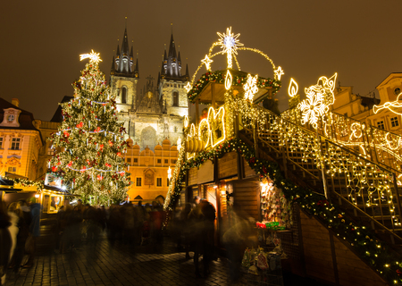 Photo for The Old Town Square at Christmas time in the center of winter Prague. - Royalty Free Image