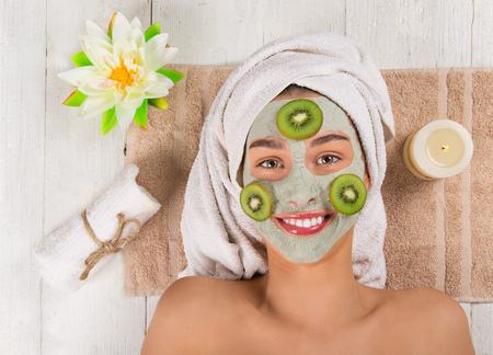 Photo for Young healthy woman with face mask. - Royalty Free Image