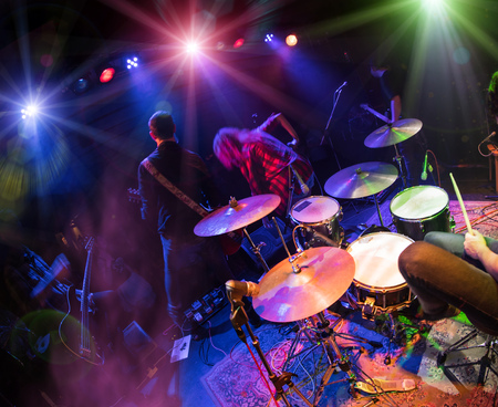 Photo for Performances of the musicians, the drummer in the foreground - Royalty Free Image