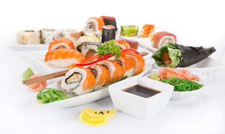 Photo for Japanese Sushi over white background, close-up. - Royalty Free Image