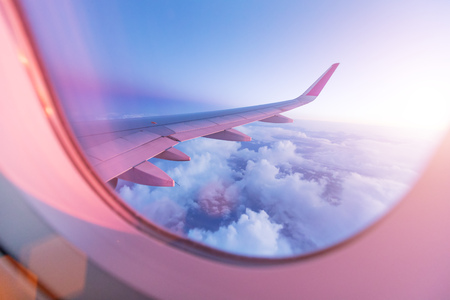 Photo for Sunset sky from the airplane window - Royalty Free Image