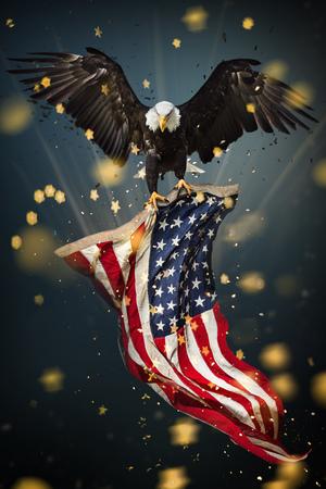 Photo pour Bald Eagle with American flag - image libre de droit
