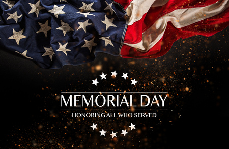 Photo for American flag with the text Memorial day. - Royalty Free Image