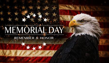 Photo pour American flag with the text Memorial day. - image libre de droit