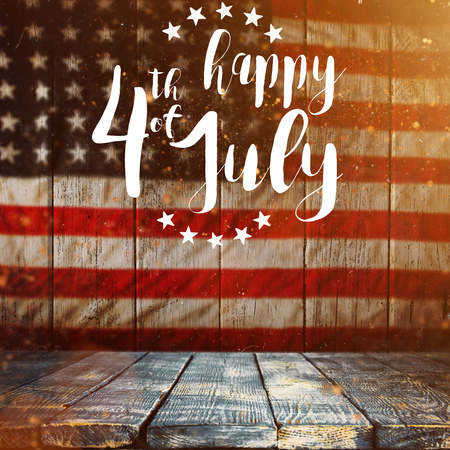 Photo pour Inscription Happy 4th of July with USA flag. - image libre de droit