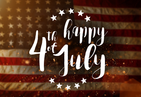 Photo for Inscription Happy 4th of July with USA flag. - Royalty Free Image