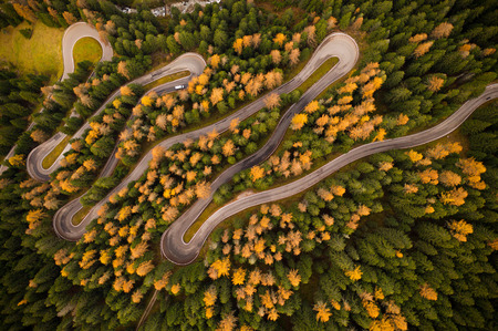 Photo pour Curvy road in atumn forest. - image libre de droit