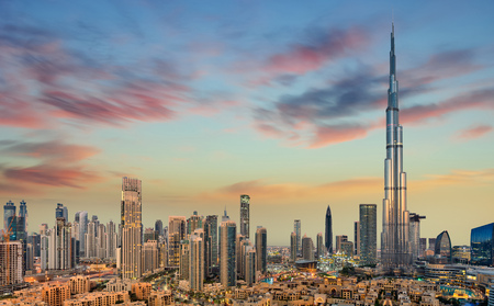 Photo pour Amazing panoramic view on Dubai futuristic skyline, Dubai, United Arab Emirates - image libre de droit
