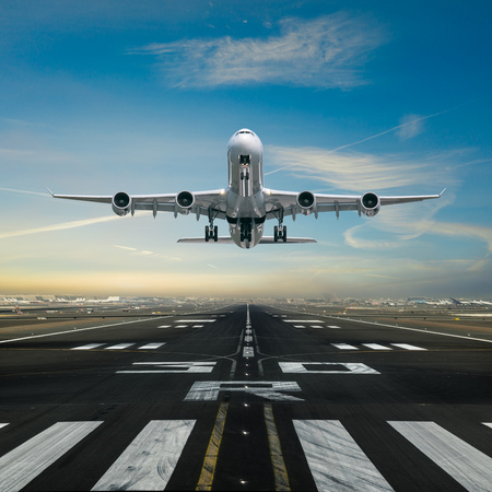 Photo for Airplane taking off from the airport. - Royalty Free Image