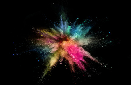 Photo for Colored powder explosion on black - Royalty Free Image