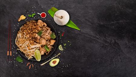 Photo pour Pad thai asian food  with various ingredients on rustic stone - image libre de droit