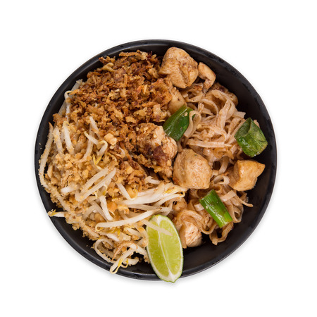 Photo pour Pad thay asian food  with various ingredients on white - image libre de droit