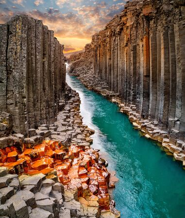 Photo for Breathtaking view of Studlagil basalt canyon, Iceland. - Royalty Free Image