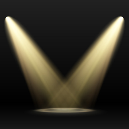 Illustration pour Two Yellow Spotlights on dark background. Scene. Light Effects. - image libre de droit