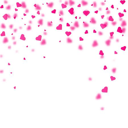 Illustrazione per Heart shaped confetti falling down. Vector illustration - Immagini Royalty Free