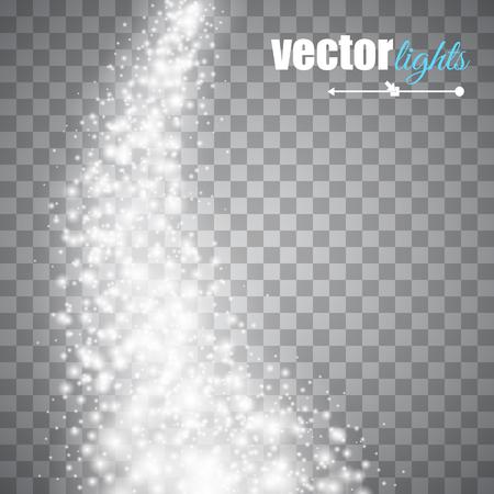 Ilustración de Vector white glitter wave abstract background. White glittering star dust trail sparkling particles on transparent background. Magic glow background - Imagen libre de derechos