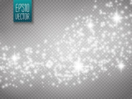 Ilustración de Vector gold glitter wave abstract background. Gold glittering star dust trail sparkling particles on transparent background. Magic background - Imagen libre de derechos