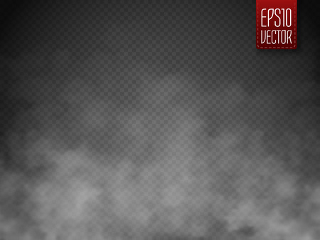 Illustration for Fog or smoke isolated transparent special effect. White vector cloudiness, mist or smog background. Magic template. Vector illustration - Royalty Free Image